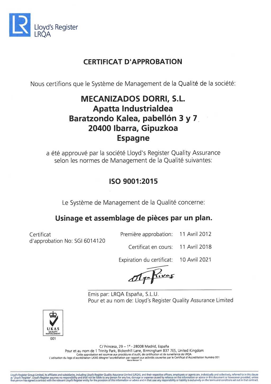 Certificat D'Appobation